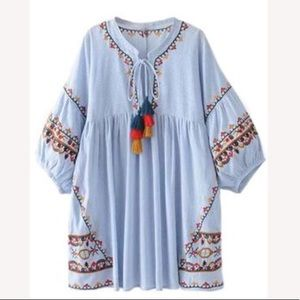 Goodnight Macaroon. Blue dress with tassels. Small